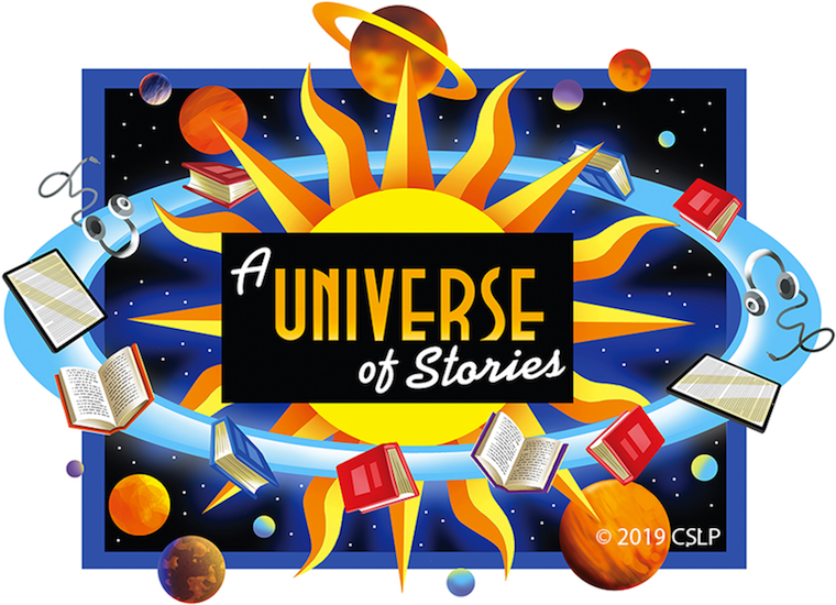 A Universe of Stories. Books, tablets, and headphones are in orbit around the sun. Farther out several planets are floating in space against a backdrop of stars.
