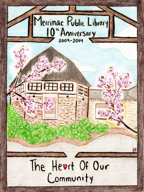 Merrimac Public 10th Anniversary. 2004-2014. The Heart of Our Community. Pink flowers bloom in front of the library's special collections and genealogy room.