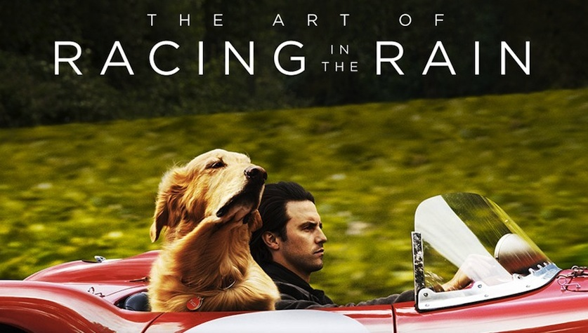 The Art of Racing in the Rain film poster. A man drives a red sports car with his golden retreiver in the passenger seat.