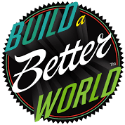 Build A Better World! The emblem words are projected in three dimensions in a dramatic fashion. The word colors are teal, yellow, white, and grass green.
