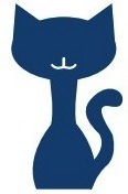 Commonwealth Catalog cat logo: a smiling blue cat with tail curling up on the right side.