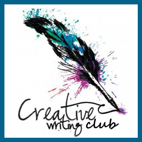A feathered quill pen writes the words 'Creative Writing Club'. Blue, green, and purple colors spatter out of the feather.