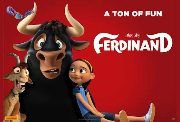 Ferdinand the bull with two friends: a smiling goat and a yound girl.