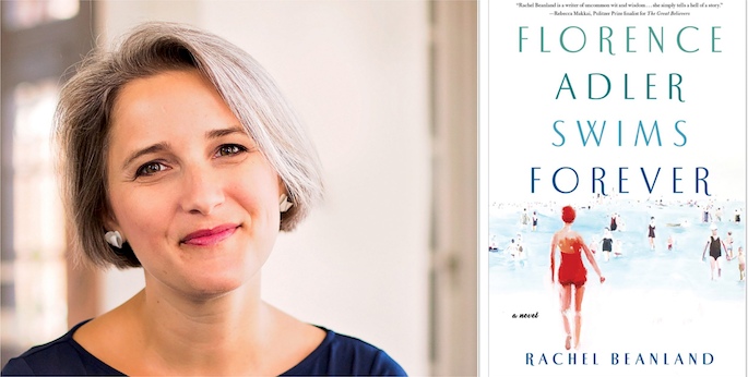 Florence Adler Swims Forever by Rachel Beanland. A portrait of the smiling author next to the cover of her book. The book cover has an illustration of swimmers at the beach.