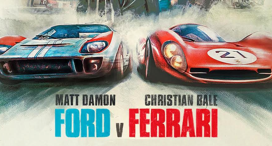 Ford v Ferrari film poster. A race between a ford and ferrari, with the cars coming head on in the painting. One car is red with the number 21 in a circle. The other car is blue with a pair of white racing stripes. Matt Damon and Christian Bale star in this film.