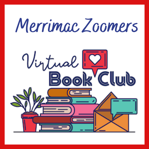 Merrimac Zoomers Book Club. A stack of books next to a potted plant on a table top. Icons for email and text messages appear over the table.