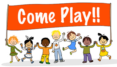 Children hold up a sign that reads: Come Play!! The children are smiling, jumping, and waving.