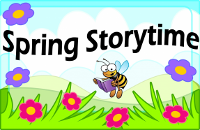 Spring Storytime. A smiling bee reads a book while flying over a green field. Spring flowers bloom in the foreground.